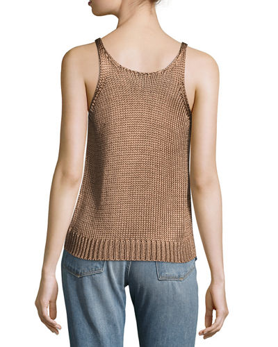 Cable-Knit Silk Crop Tank Top