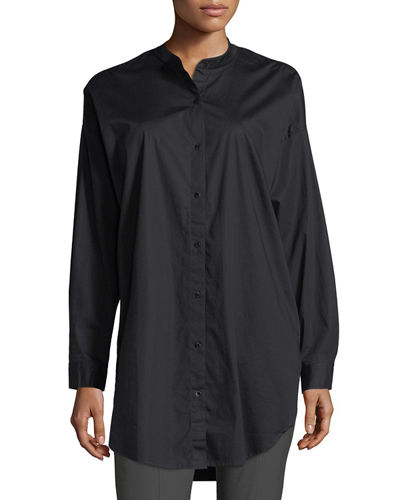 Eileen Fisher Mandarin-Collar Stretch-Lawn Button-Front Shirt, Petite