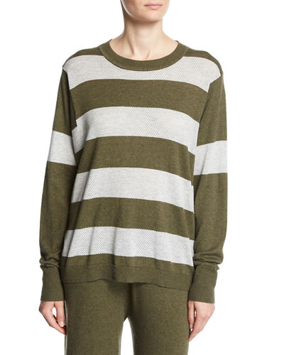 Long-Sleeve Striped Pullover Top, Plus Size