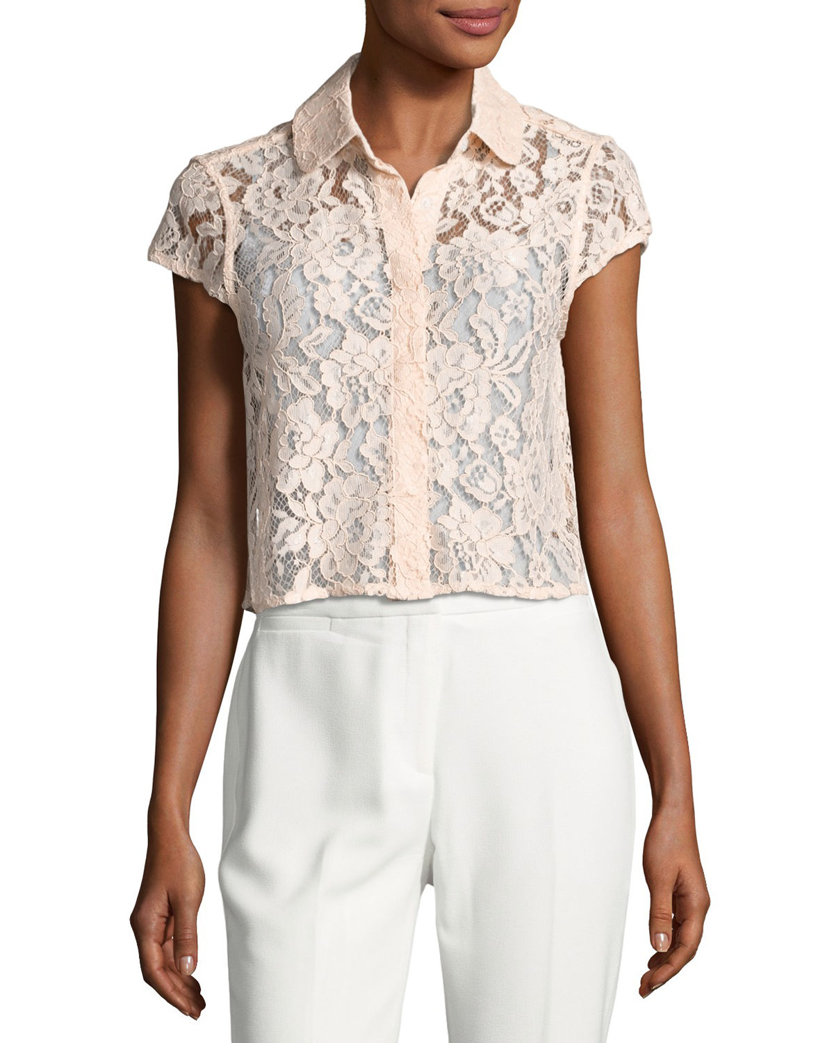 Cap-Sleeve Floral-Lace Jacket