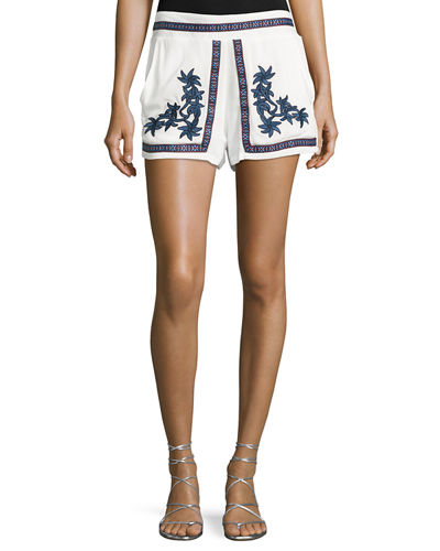 Floral-Embroidered Gauze Shorts