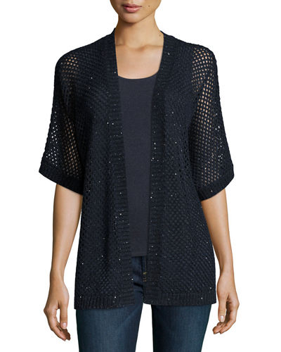Open-Weave Sequin Cashmere Cardigan