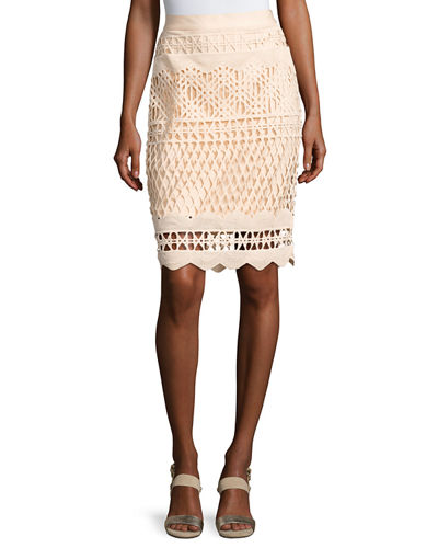 Crochet-Overlay Pencil Skirt