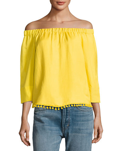 Off-The-Shoulder Pompom Top