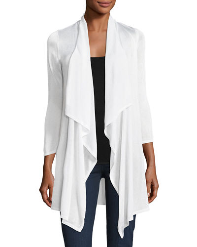Draped Long Open Cardigan