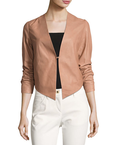 Asymmetric-Hem Leather Blazer