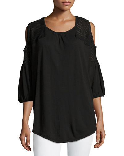 Chika Lace-Shoulder Jersey Top