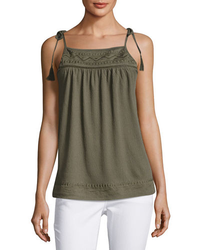 Tie-Shoulder Embroidered Swing Tank