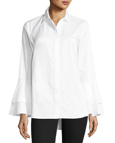 Go Silk Ruffle-Sleeve Cotton Shirt, Petite