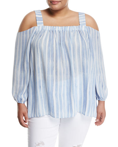 Graceful Phrases Striped Cold-Shoulder Blouse, Plus Size