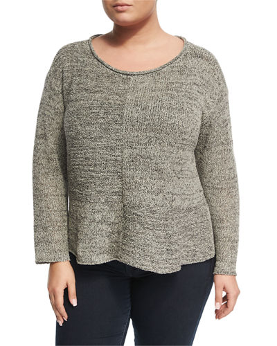 Twisted Silk-Knit Ballet Top, Plus Size