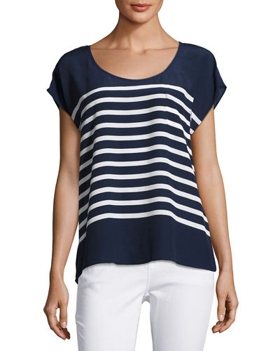 Kendelline Striped Silk Blouse