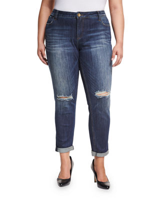 Catherine Distressed Boyfriend Jeans (Plus Size) KUT from the Kloth