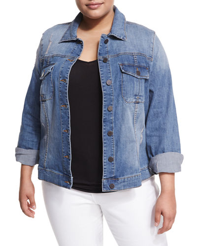 Amelia Destructed Denim Jacket, Plus Size