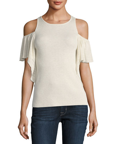 Cold-Shoulder Ruffled Top
