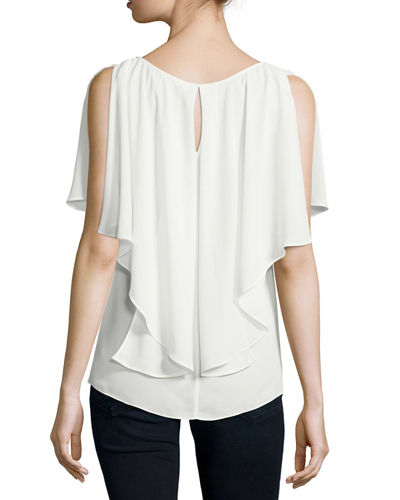 Ruffled-Trim Crepe Blouse