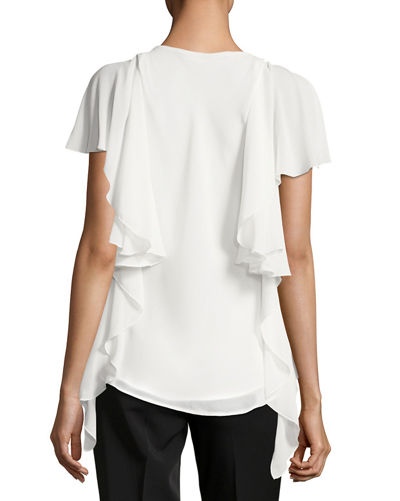 Ruffle-Trim Textured-Crepe Blouse