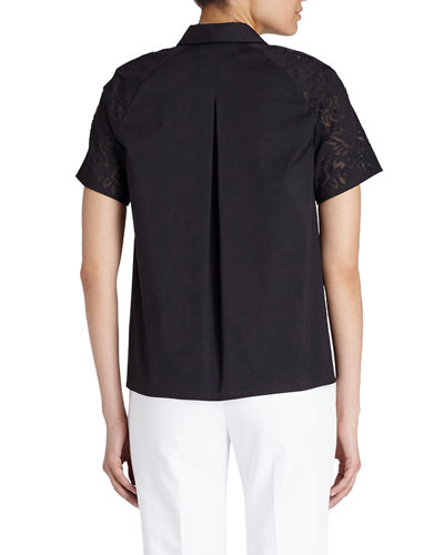 Ingrid Perforated-Sleeve Blouse