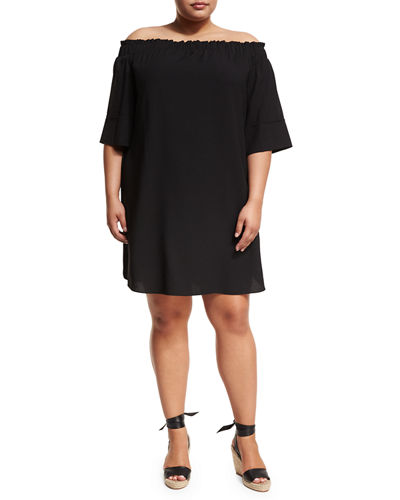 Off-the-Shoulder Short-Sleeve Shift Dress, Plus Size