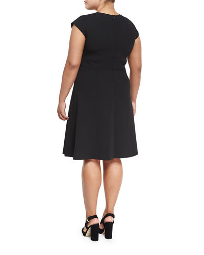 Cap-Sleeve Fit-and-Flare Dress, Plus Size
