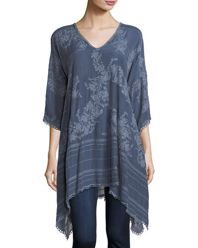 Johnny Was Leaf Garden Embroidered Georgette Tunic