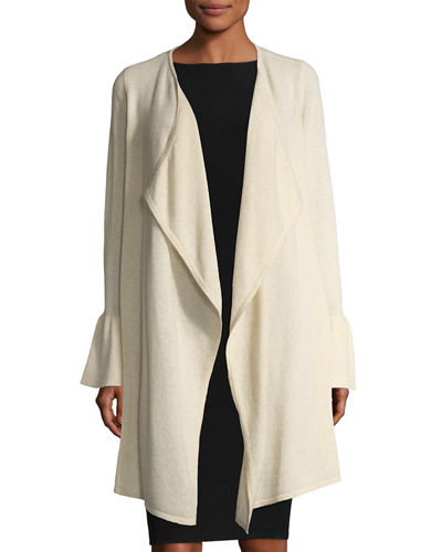 Cashmere Bell-Sleeve Cardigan