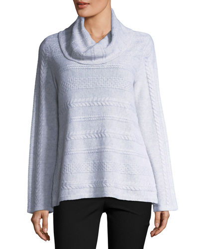 Cashmere Cowl-Neck Cable-Knit Sweater