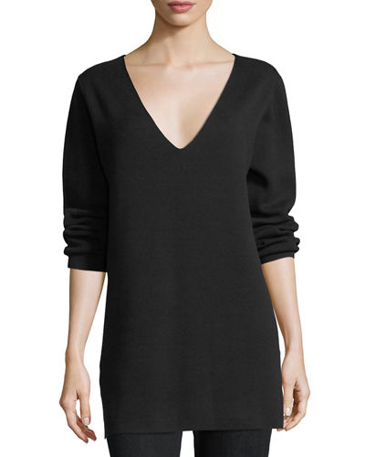 Joan Vass Long-Sleeve Cotton Milano Tunic, Plus Size