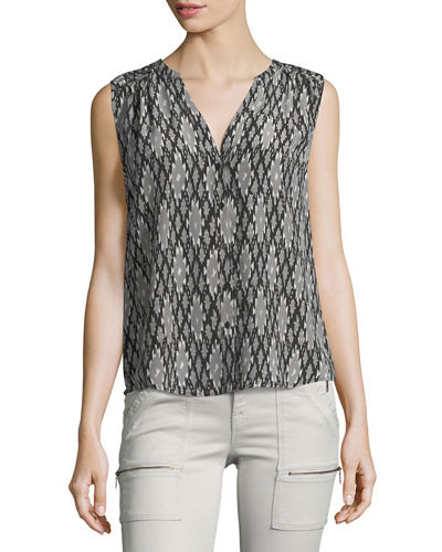 Finnegan Split-Neck Silk Top
