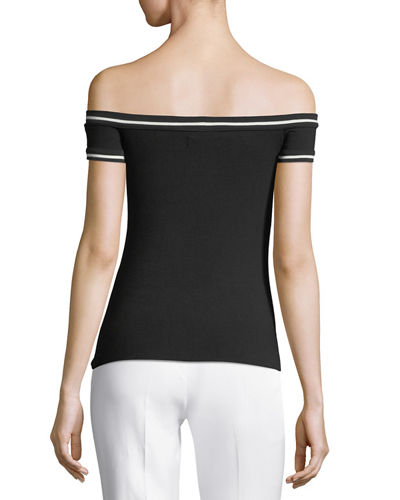 On-the-Go Boat-Neck Cap-Sleeve Fitted Top