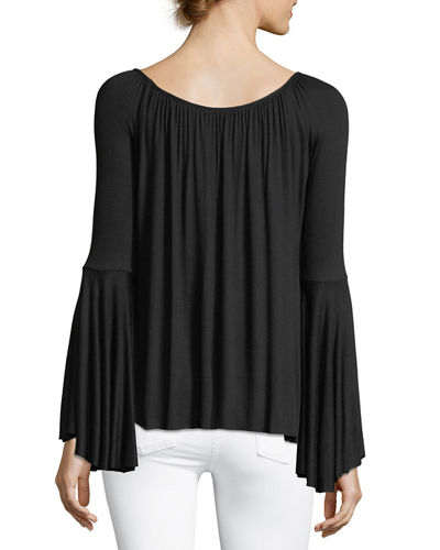 Bell-Sleeve Boat-Neck Relaxed Top