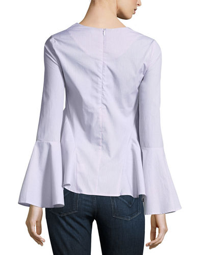 Long-Sleeve Striped Poplin Top