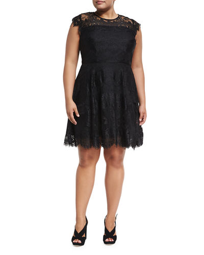 Talia Floral-Lace Dress, Plus Size