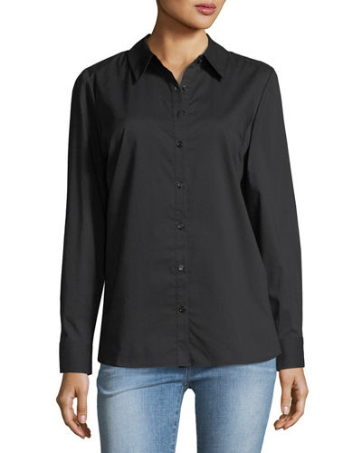 Back-Bow Poplin Blouse