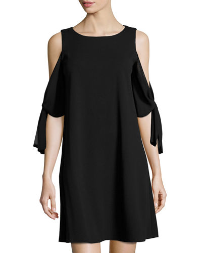 Chiffon-Sleeve Crepe Shift Dress