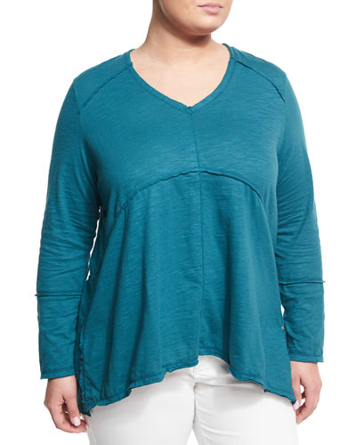 Tambourine V-Neck Relaxed Tee, Plus Size