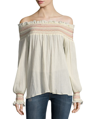 Love Sam Off-the-Shoulder Embroidered Blouse