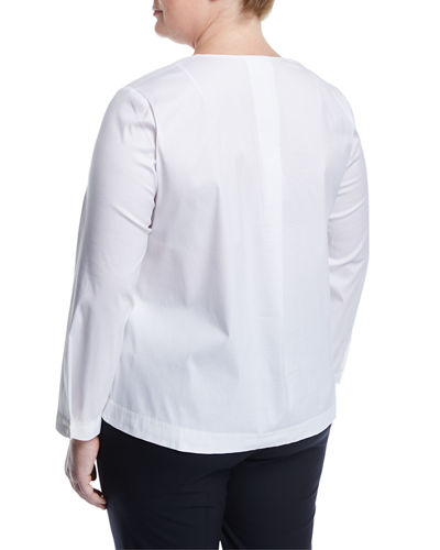 Payton Long-Sleeve Poplin Blouse, Plus Size