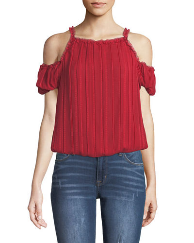Dobby Striped Cold-Shoulder Top