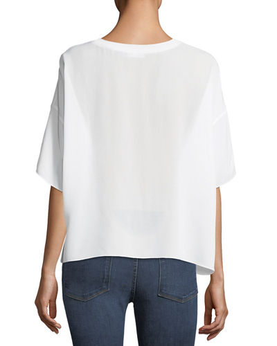 Relaxed Silk Rib-Neck Pullover Tee