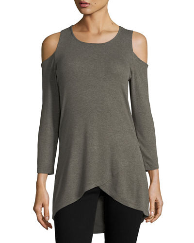 Cold-Shoulder Asymmetric-Hem Tee
