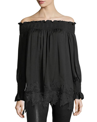 Off-the-Shoulder Lace-Hem Tunic
