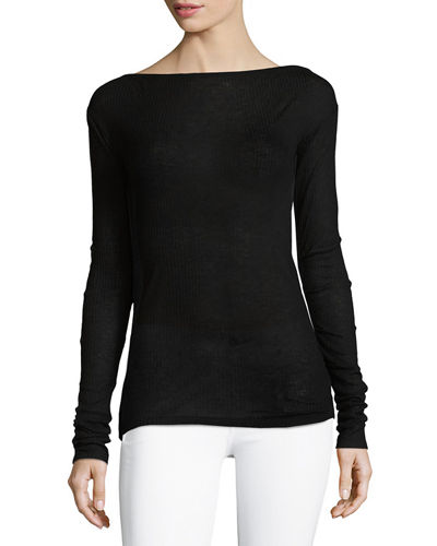 Madison Ribbed Boat-Neck Sweater