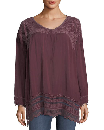 Johnny Was Rose Embroidered Georgette Tunic Plus Size