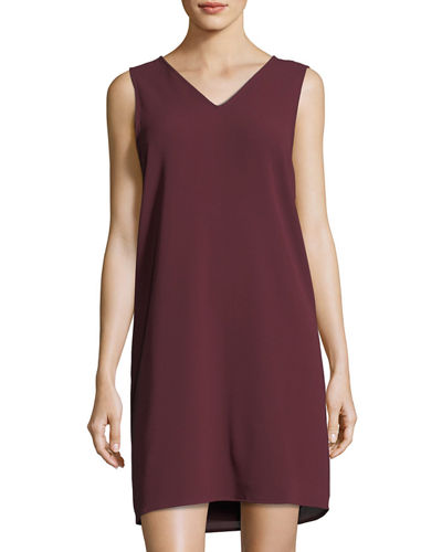 Sleeveless V-Neck Crepe Shift Dress