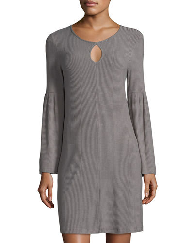 Bell-Sleeve Keyhole Jersey Dress