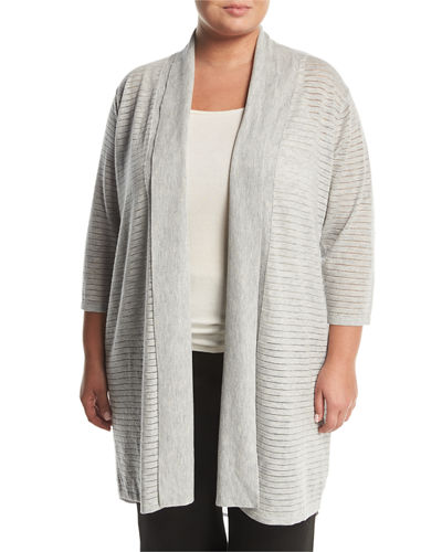 Chiffon-Trim Long Cardigan, Plus Size