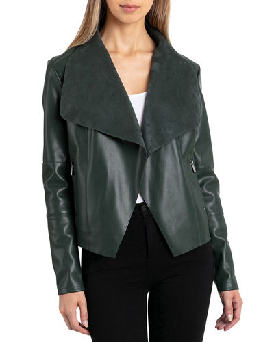 Long-Sleeve Faux-Leather Draped Jacket