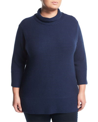 Turtleneck Ribbed Sweater, Plus Size