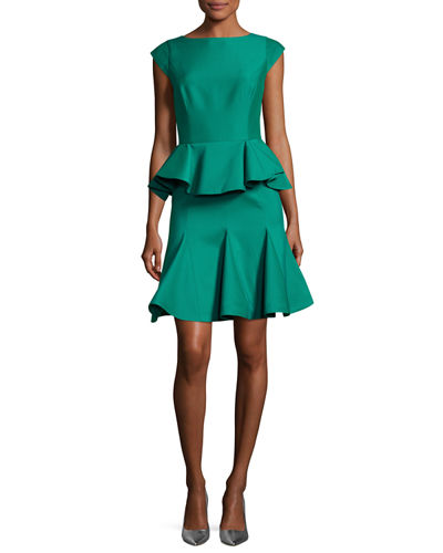 Cap-Sleeve Structured Tiered Flounce Cocktail Dress